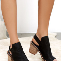 Chinese Laundry Caleb Black Suede Leather Ankle Booties