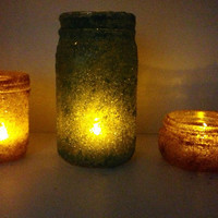 Epsom salt mason jar luminaries with a flameless candle