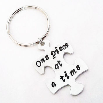 Custom Hand Stamped Puzzle Piece Key Chain, One Piece at a Time, Autism Awareness, Autistic gift, love needs no words, puzzle keychain, mom