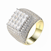 Princess Cut Solitaire Ring Full Iced Out Wedding 14k Gold Over 925 Silver CZ