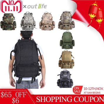 Outlife 50L Military Tactical Backpack Molle Outdoor Bag Rucksack Camping Hiking Bag Trekking Backpack Camouflage Sport Bag Men
