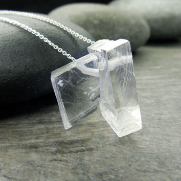 Raw Crystal Necklace, Optic Calcite, Icelandic Spar, Viking Sunstone, Frosty Ice Cubes, Chakra Jewelry, Sterling Silver, Dangle Chain