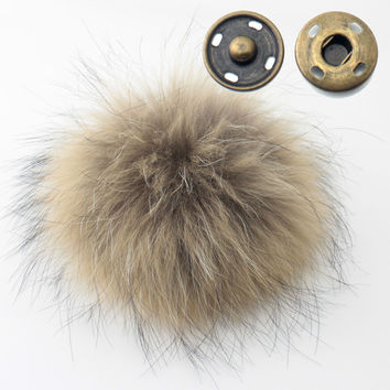 2pcs 10cm Real Raccoon Fur Pompoms Raccoon Fur Ball DIY for Keychain Fur Hat Winter Hats for Shoes Fur Cap Free Shipping