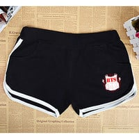 KPOP BTS Sports Shorts Bangtan Boys Hot Cotton Short Pant Jimin Suga Fan Support