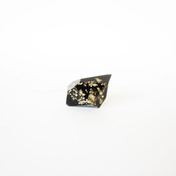 RESIN RING Black and gold flakes DIAMOND  with sterling silver 925. Dark chic ring ooak