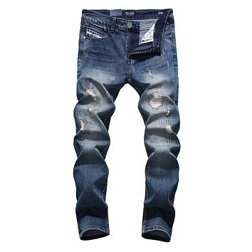 Patchwork Jeans Men Slim Skinny Denim Ripped Blue Trousers Brand Jeans Elastic Pants High Quality Men`s Stretch Jeans Uomo W701