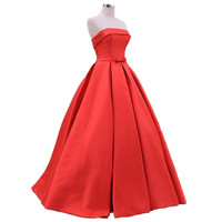 Free shipping Vestido De Festa Long Ball Gown Red Prom Dress 2015 Strapless Satin Formal Evening Gowns With Sash Lace-up Back Cu