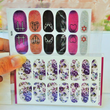 2 Pack Purple Nail wraps, Nail Art, Purple Heart Nail Design, Gothic Nail Decal, FLoral Nails, Nail wrap, Wings Nail Art, Emo, Teens, Women