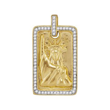 10kt Yellow Gold Mens Round Diamond Rectangle Lady Liberty Statue Dog Tag Charm Pendant 1/3 Cttw