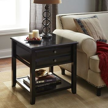 Anywhere Large Rubbed Black End Table with Knobs