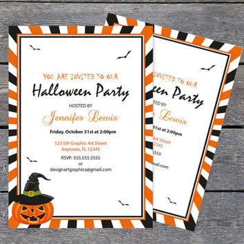 Halloween Invitation with Pumpkins and Witch Hat Template - Halloween Party Invitations Editable PDF - Instant Download - DIY You Print