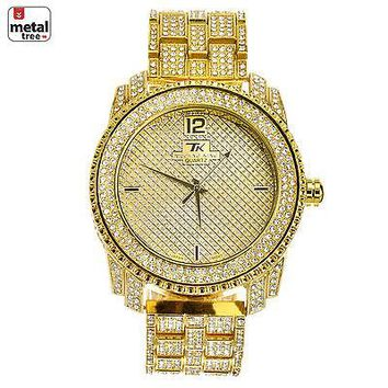 Jewelry Kay style Men's Fashion Stainless Steel Back Iced Out Heavy Metal Band Watches WM 1078 G