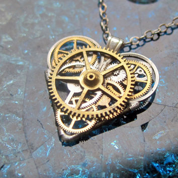 "Gear Heart Necklace ""Intricon"" Clockwork Steampunk Industrial Heart Pendant Sculpture Gershenson-Gates Mechanical Mind Gift Idea"