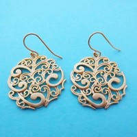 Round, Paisley, Gold, Silver, Earrings, Gift, Jewelry