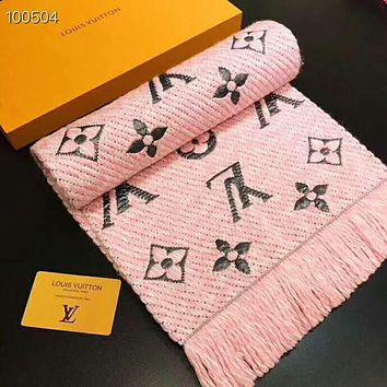 LV Louis Vuitton Fashionabcle Warm Cashmere Cape Tassel Scarf Shawl Scarves Accessories Pink