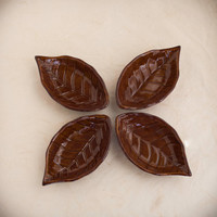 Vintage Autumn Leaf Sashimi Sauce Dishes, Japanese Serving Bowl
