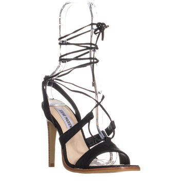 Steve Madden Faitful Lace Up Sandals, Black Snake, 6 US