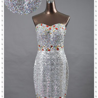Hot Selling Sweetheart Sequin Dresses Cheap Rhinestone Beaded Lace Up Sheath Sexy Cocktail Prom Homecoming Dresses