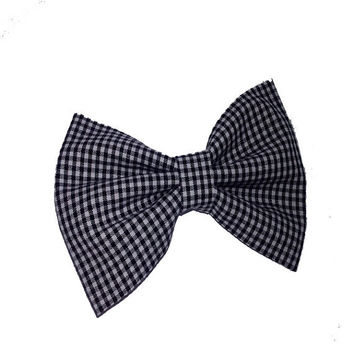 Black and white checkered womens or girls fashion hair bow - toddler accessories - 80s rockabilly trends