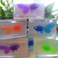 Goldfish Soap for Kids - Lot 5 Glycerin Bars w/ Fish Toy for Play Gifts Favors