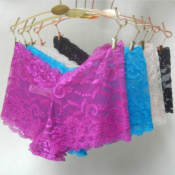 Underwear Women Stretch Panties Sexy Lace Lingerie Seamless Boyshorts Plus Size