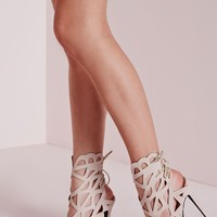 Missguided - Laser Cut Tie Back Heeled Sandals Nude