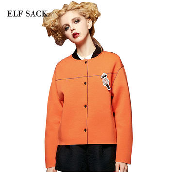 ELF SACK Women Spring Single Breasted Removable Badge Long Sleeve Loose Baseball Coat