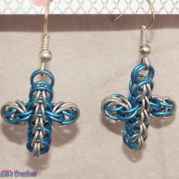 Chainmaille Cross Earrings (FP) - Blue & Silver