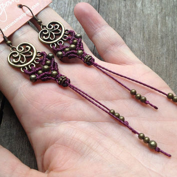 Hippie-chic macrame earrings boho bohemian hippie gypsy elven micro macrame micromacrame