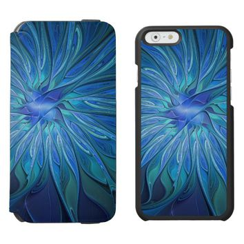 Blue Flower Fantasy Pattern, Abstract Fractal Art iPhone 6/6s Wallet Case