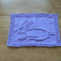 Lovely Lavender Easter Bunny Hand Knitted Dish Cloth or Wash Cloth
