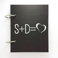 Custom journal, notebook, sketchbook, diary, ring binder, blank notepad, typography customized, personalized, you + me = love, your initials