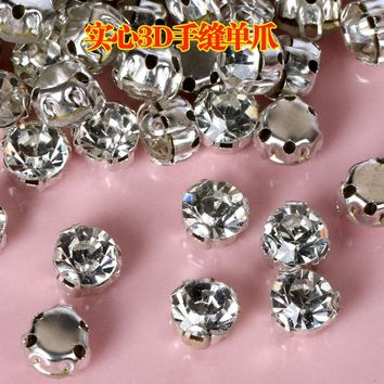 3D Anti scratch claw rhinestone,Sew on stones Crystal glass rhinestones DIY Clothes & Accessories parts