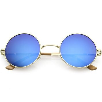 Premium Retro Small Round Sunglasses Slim Metal Arms 46mm