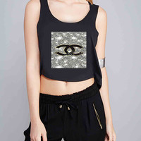 Coco Chanel Glitter Painting for Crop Tank Girls S, M, L, XL, XXL *07*