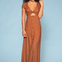 Beginnings Peek-a-boo Button Maxi Dress