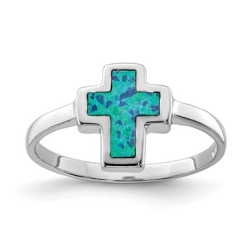 925 Sterling Silver Rhodium-plated Polished Cross Synthetic Opal Ring