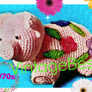 DIGITAL PATTERN • PIG Toy Crochet Pattern • Fun Squeezable Porky Toy • Crochet Flowers then Appliqued • 1970s Vintage Pattern • PdF Pattern