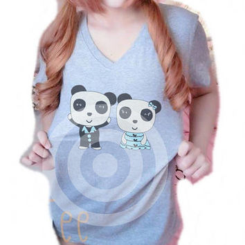 Panda shirt Women shirts S M L XL Grey tshirt - Vacation shirt -Funny tshirt -Animal shirt -Family shirt