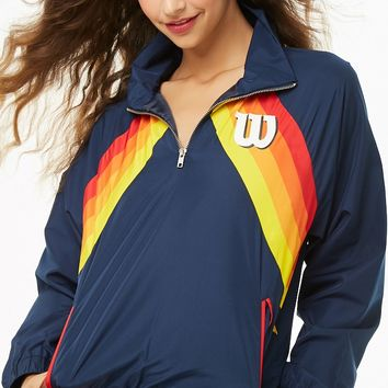 Wilson Striped-Front Logo Windbreaker