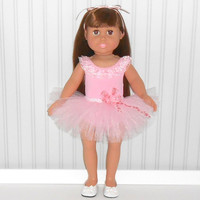 American Girl Doll Clothes Pink Leotard and Tutu Dance Outfit fits 18 inch Dolls