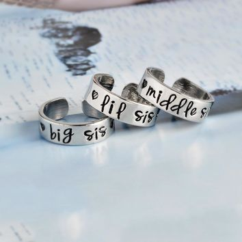 Big Sis/Middle Sis/ Little Sis Ring Set