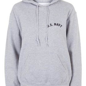 US Navy Hoodie by Tee and Cake - Grey