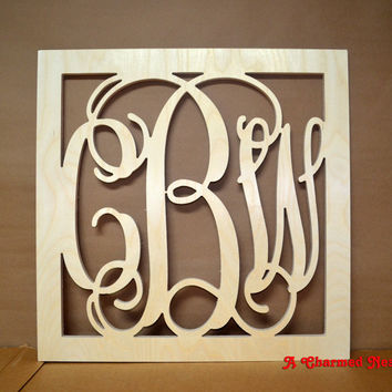 24 inch Square Border Vine Wooden Monogram Connected Letters, Wedding, Nursery, Home, Wood Monogram