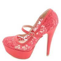 Lace Mary Jane Platform Pumps by Charlotte Russe - Fuchsia