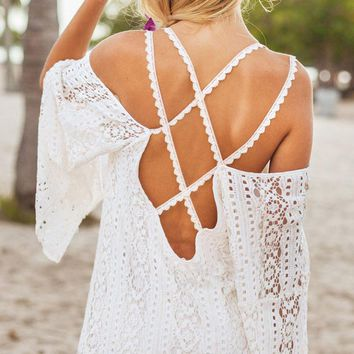 2016 Summer Women Vestidos Hippie Boho Embroidered Floral Bohemian Sexy Lace Crochet Beach Wear Mini White Maxi Dress Y0717-89D