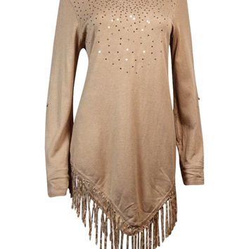 Alfani Women's Sequin Embellished Fringe Trim Tunic Sweater