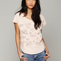 Free People Free People Cotton Slub Embroidered Tee