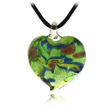 Murano Glass Multicolor Swirl Glitter Heart Silk Pendant Necklace