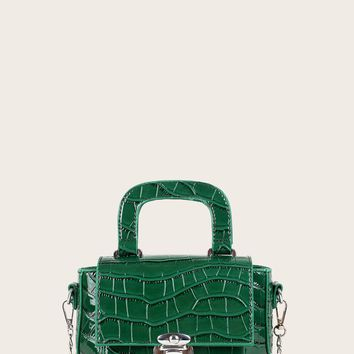 Green Croc Embossed Push Lock Satchel Bag